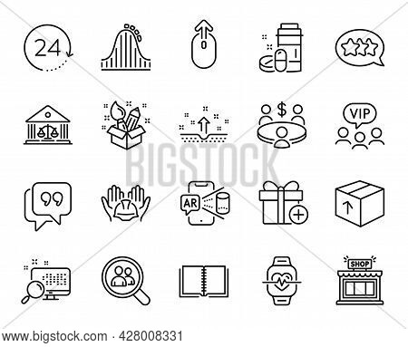 Vector Set Of Add Gift, Book And Quote Bubble Line Icons Set. Creativity, Shop And Meeting Icons. 24