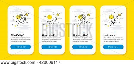 Vector Set Of Moon Stars, Safe Planet And Walnut Line Icons Set. Ui Phone App Screens With Line Icon