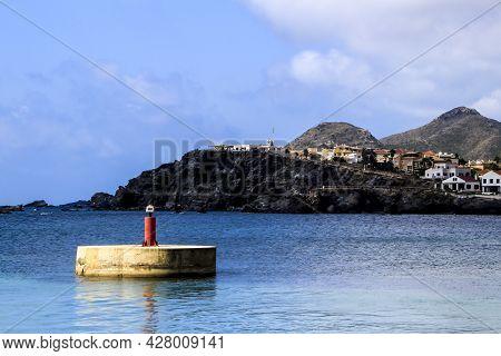 Cabo De Palos Coast And Pier In Los Alcazares Village, (murcia Community, Spain) On A Sunny Day Of S
