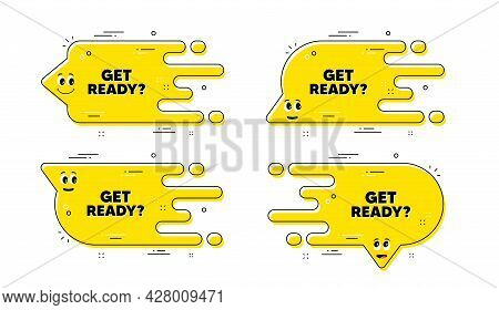 Get Ready Text. Cartoon Face Transition Chat Bubble. Special Offer Sign. Advertising Discounts Symbo