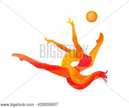 Illustration. The Figure Of A Gymnast Girl. She Is Jumping With A Flying Ball. Tiffany Color Backgro