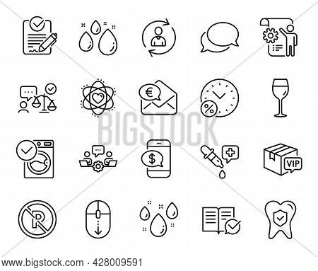 Vector Set Of Euro Money, Scroll Down And Rainy Weather Line Icons Set. Settings Blueprint, Teamwork