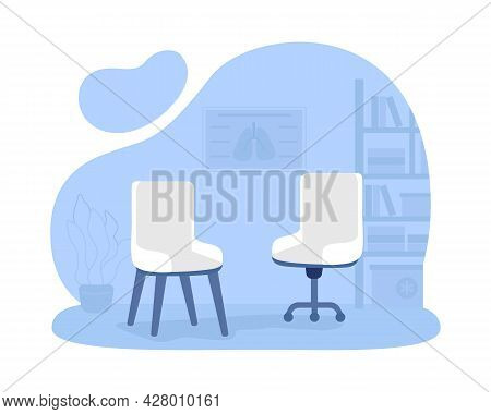 Armchairs For Office Room 2d Vector Isolated Illustration. Private Clinic. Comfortable Place For Tal