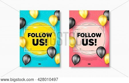 Follow Us Text. Flyer Posters With Realistic Balloons Cover. Special Offer Sign. Super Offer Symbol.