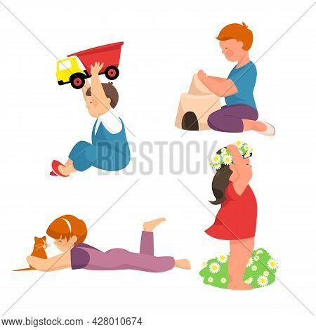 Small Children. A Set Of Vectors. Children Are Playing. Children With Animals. Children With Toys