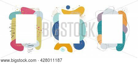 Frame Design With Watercolor Shapes, Blobs And Brushes Isolated Set Of Decorative Abstract Compositi