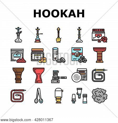 Hookah Tobacco Smoking Collection Icons Set Vector. Nicotine-free And Charcoal For Smoke Indian Or E