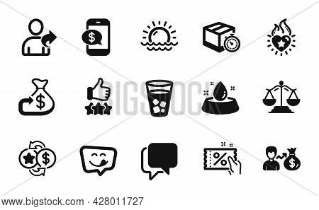Vector Set Of Cashback, Rating Stars And Ice Tea Icons Simple Set. Talk Bubble, Yummy Smile And Wate