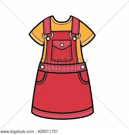 Denim Sundress Worn Over A T-shirt Color Variation For Coloring Page Isolated On White Background