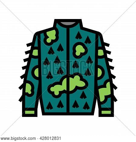 Camouflage Jacket For Hunting Color Icon Vector. Camouflage Jacket For Hunting Sign. Isolated Symbol