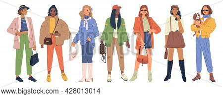 Set Of Stylish Modern Women In Fashion Clothes Isolated Flat Cartoon Characters. Vector Spring And A