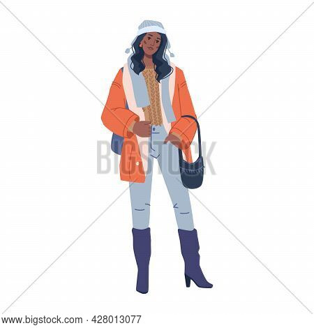Woman Fashion Cloth Warm Winter Vogue Collection Isolated Flat Cartoon Character. Vector Vogue Coutu