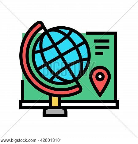 Geography School Subject Color Icon Vector. Geography School Subject Sign. Isolated Symbol Illustrat