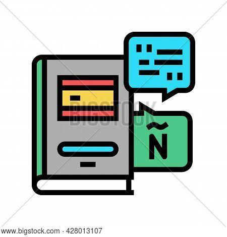 Spanish Language School Lesson Color Icon Vector. Spanish Language School Lesson Sign. Isolated Symb