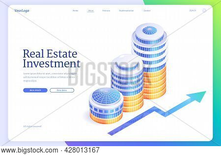 Real Estate Investment Isometric Landing Page. Financial Strategy Of Invest In Residential Property,