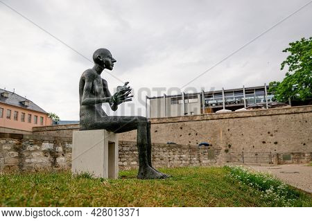 July 2021, Erfurt Germany, Man With An Animal, A New Sculpture In Erfurt