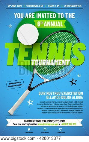 Tennis Tournament Poster Template With Racket, Ball And Sample Text In Separate Layer - Vector Illus