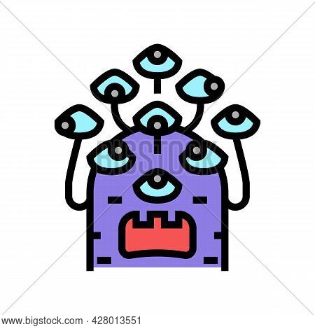 Alien With Nine Eyes Color Icon Vector. Alien With Nine Eyes Sign. Isolated Symbol Illustration
