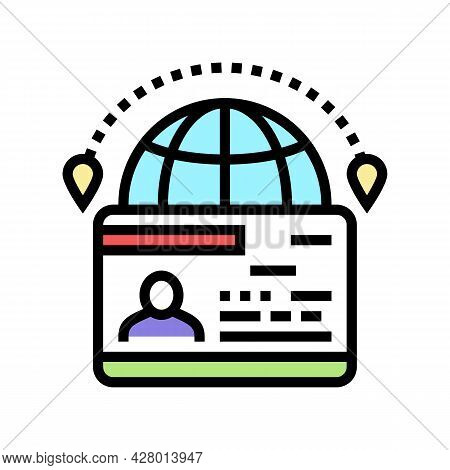 Immigration Visa Color Icon Vector. Immigration Visa Sign. Isolated Symbol Illustration