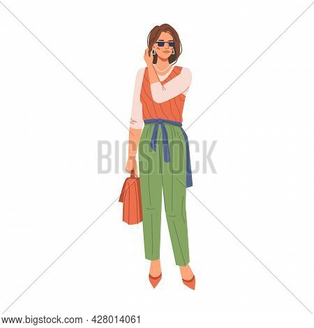 Stylish Modern Woman In Fashion Clothes Isolated Flat Cartoon Character With Bag. Vector Fashionable