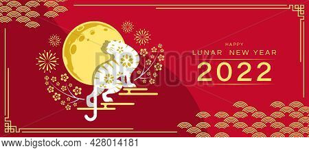Happy Lunar New Year 2022 - White And Gold Tiger Zodiac Standing On Cloud And Full Moon With Firwork