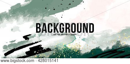 Green Abstract Background. Modern Emerald Minimal Freehand Ink Shapes With Black Lines. Contemporary