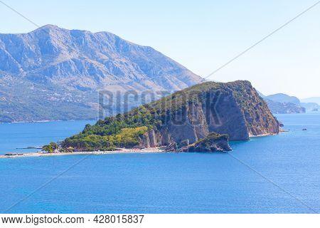 Sveti Nikola Island In Montenegro . Island In Adriatic Sea Located Near Budva City