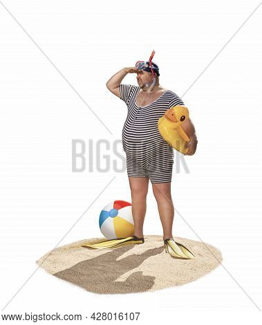 Funny Overweight Retro Swimmer Looking For The Beach Isolated On White Background