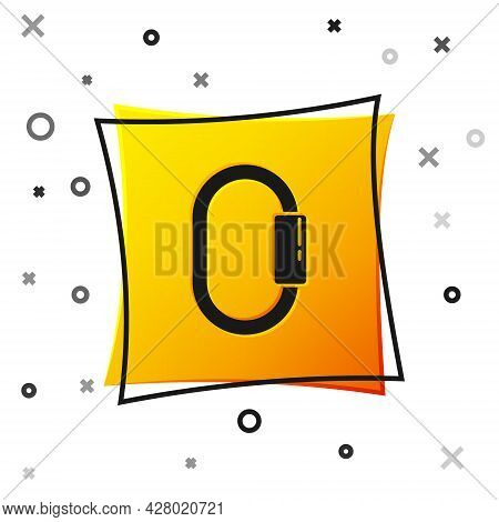 Black Carabiner Icon Isolated On White Background. Extreme Sport. Sport Equipment. Yellow Square But