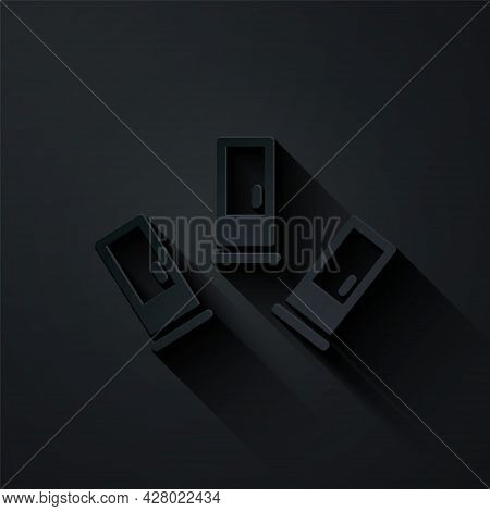 Paper Cut Cartridges Icon Isolated On Black Background. Shotgun Hunting Firearms Cartridge. Hunt Rif