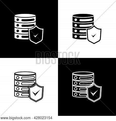Set Server With Shield Icon Isolated On Black And White Background. Protection Against Attacks. Netw