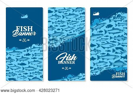 Vector Fish Vertical Banners Or Flyers