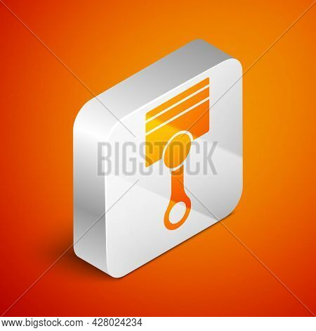 Isometric Engine Piston Icon Isolated On Orange Background. Car Engine Piston Sign. Silver Square Bu