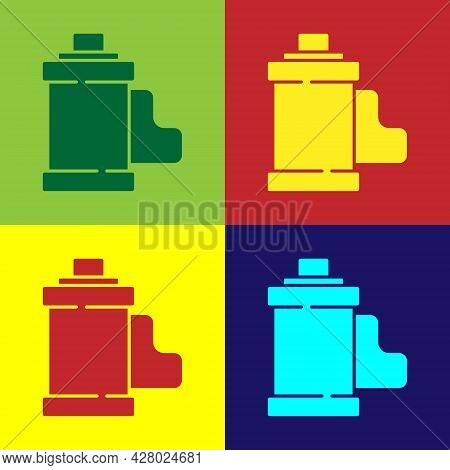 Pop Art Camera Vintage Film Roll Cartridge Icon Isolated On Color Background. 35mm Film Canister. Fi