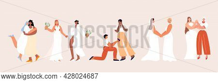 Set Of Lesbian And Gay Newlyweds. Homosexual Couples. Collection Of Lgbtq Wedding Ceremonies Isolate