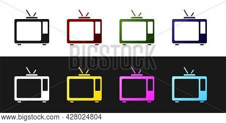 Set Retro Tv Icon Isolated On Black And White Background. Television Sign. Vector
