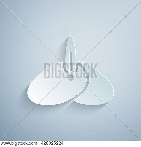 Paper Cut Indian Headgear Turban With Feather Icon Isolated On Grey Background. Paper Art Style. Vec