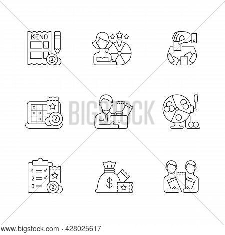Gambling Game Types Linear Icons Set. Quiz Show. Keno Game. Raffle. Lottery Agent. Daily Draws. Cust