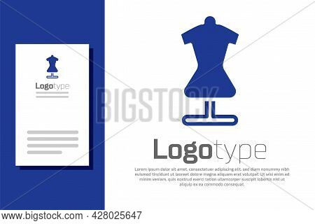 Blue Mannequin Icon Isolated On White Background. Tailor Dummy. Logo Design Template Element. Vector