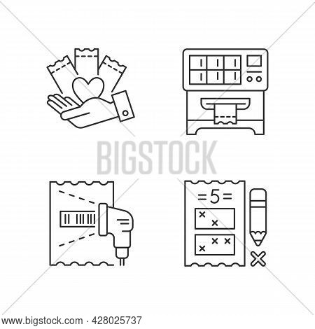 Playing Lotto Games Linear Icons Set. Charity Gambling. Lottery Ticket Vending Machine. Five Digit G