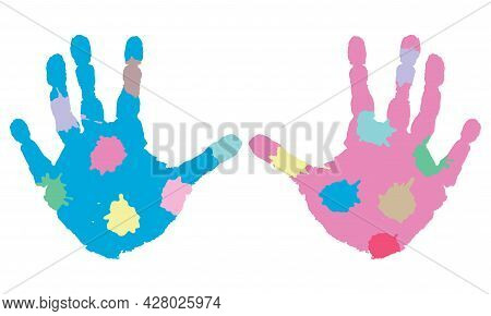 Prints Of Palm Hands Of Child With Blotches. Children Creativity. Vector Illustration