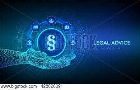 Paragraph Icon As A Sign Of Justice And Law In Robotic Hand. Labor Law, Lawyer, Attorney At Law, Leg