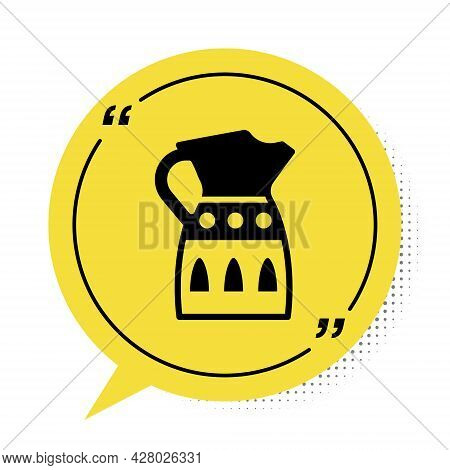 Black Sangria Pitcher Icon Isolated On White Background. Traditional Spanish Drink. Yellow Speech Bu