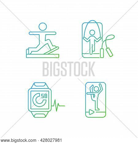 Online Fitness Gymnastic Trends Gradient Linear Vector Icons Set. Stretching And Jumping Workout. Fi