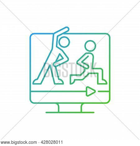 Online Fitness Classes Gradient Linear Vector Icon. Wide Efficient Courses Range. Household Fitness