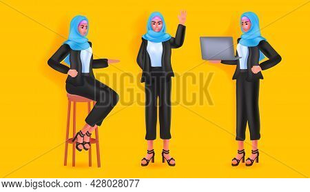 Set Arab Woman In Headscarf Arabic Businesswoman Female Cartoon Character From Different Angles View