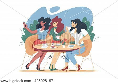Cartoon People Characters Spending Time In Street Cafe Vector Illustration. Women Friend Drink Coffe