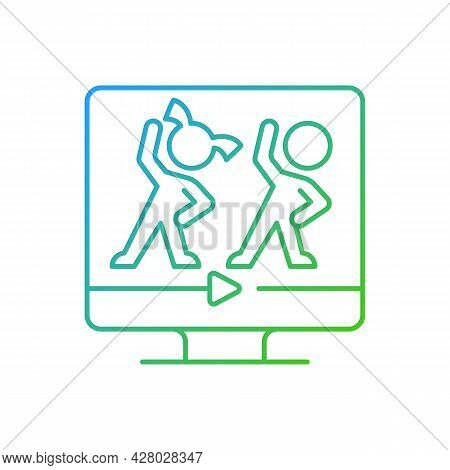 Online Aerobic For Kids Gradient Linear Vector Icon. Fitness Family Workouts. Basic Exercises And Da