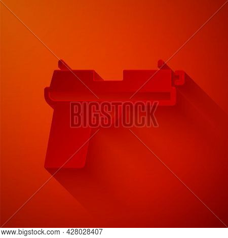 Paper Cut Pistol Or Gun Icon Isolated On Red Background. Police Or Military Handgun. Small Firearm.