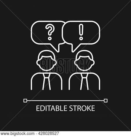 Communication White Linear Icon For Dark Theme. People Talking. Verbal And Nonverbal Communication.